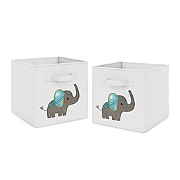 Sweet Jojo Designs Mod Elephant Fabric Storage Bins in Grey/Turquoise (Set of 2)