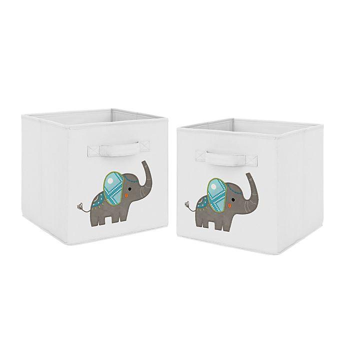 Alternate image 1 for Sweet Jojo Designs Mod Elephant Fabric Storage Bins in Grey/Turquoise (Set of 2)