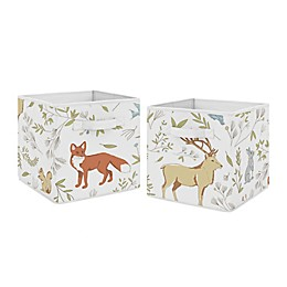 Sweet Jojo Designs Woodland Toile Fabric Storage Bins in White/Blue (Set of 2)