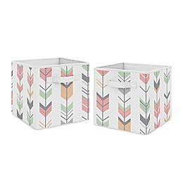 Sweet Jojo Designs Mod Arrow Fabric Storage Bins in Mint/Coral (Set of 2)