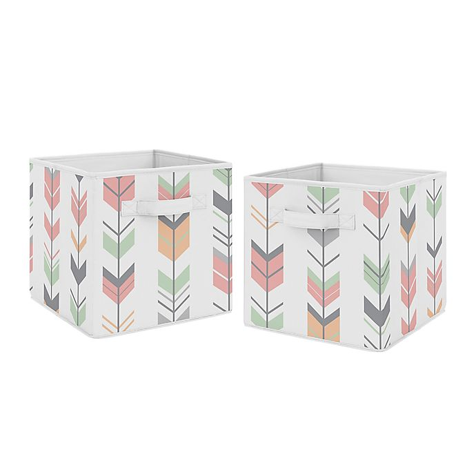 Alternate image 1 for Sweet Jojo Designs Mod Arrow Fabric Storage Bins in Mint/Coral (Set of 2)