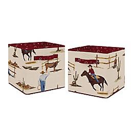 Sweet Jojo Designs Wild West Fabric Storage Bins in Chocolate/Red (Set of 2)
