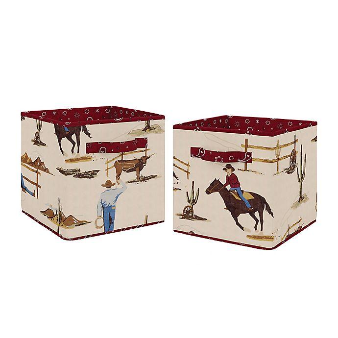 Alternate image 1 for Sweet Jojo Designs Wild West Fabric Storage Bins in Chocolate/Red (Set of 2)