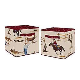 Sweet Jojo Designs Wild West Fabric Storage Bins in Chocolate/Red (Set of 2)