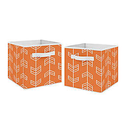 Sweet Jojo Designs Arrow Fabric Storage Bins in Orange/White (Set of 2)