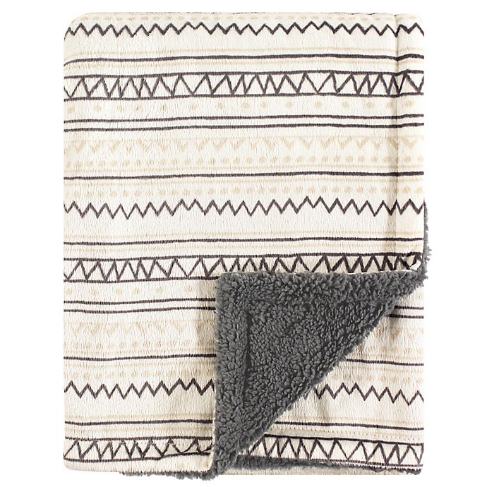 Alternate image 1 for Hudson Baby® Aztec-Inspired Minky Blanket with Sherpa Backing