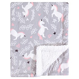 Hudson Baby® Whimsical Minky Blanket with Sherpa Backing in Pink
