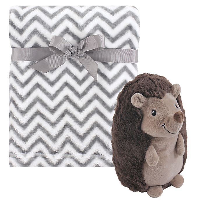 Alternate image 1 for Hudson Baby® 2-Piece Baby Blanket and Hedgehog Plush Toy Set in Brown