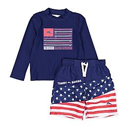 Tommy Bahama® 2-Piece Americana Rashguard Set in Navy