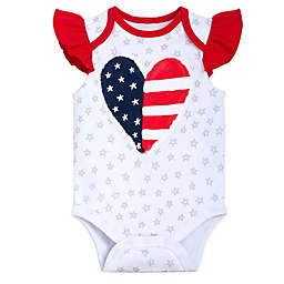 babyGEAR™ Heart Flag Flutter Sleeve Bodysuit in Red/Blue