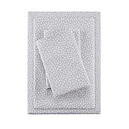 True North by Sleep Philosophy Dots Cozy Flannel King Sheet Set in Grey