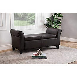 Abbyson Living® Easton Storage Ottoman Bench in Dark Brown