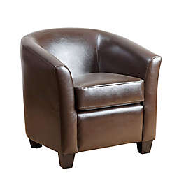 Abbyson Living® Montecito Leather Loveseat in Brown