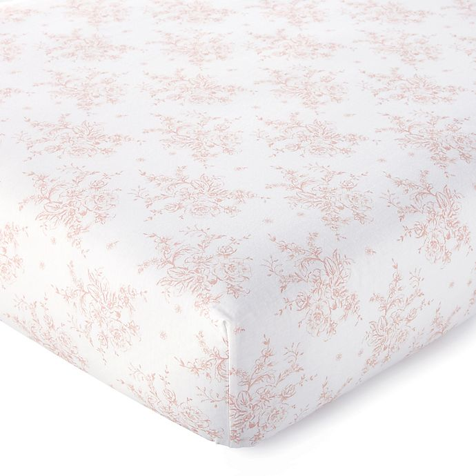 Alternate image 1 for Levtex Baby® Heritage Organic Cotton Floral Fitted Crib Sheet in Blush