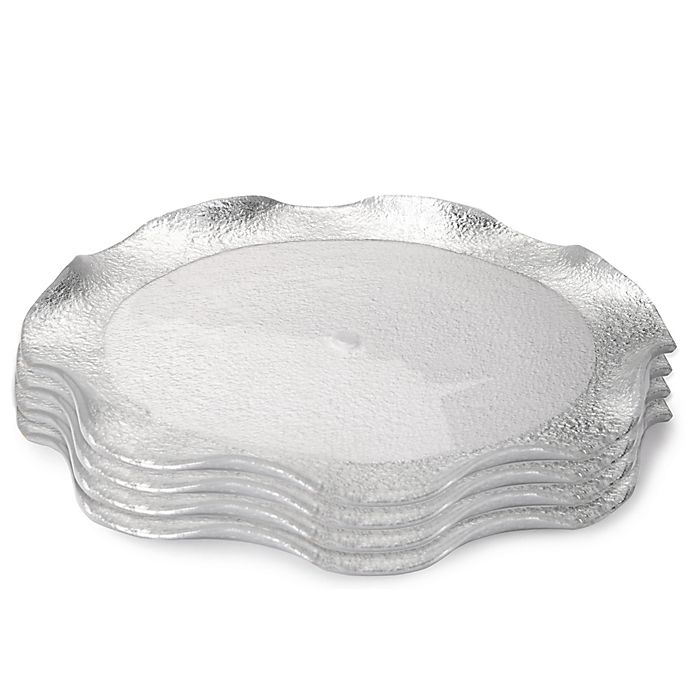 Alternate image 1 for Classic Touch Trophy Wavy Glass Charger Plates in Silver (Set of 4)