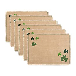 Design Imports Shamrock Jute Placemats in Green (Set of 6)
