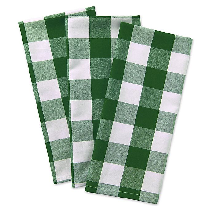 Alternate image 1 for Design Imports 3-Pack Shamrock Buffalo Check Kitchen Towels in Green