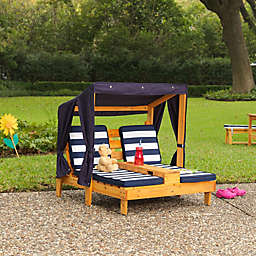 KidKraft® Double Chaise with Cupholders and Canopy in Honey/Navy/White