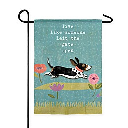 Evergreen Left the Gate Open Suede Garden Flag
