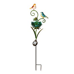 National Tree Company Flower and Birds Solar Garden Stake in Green