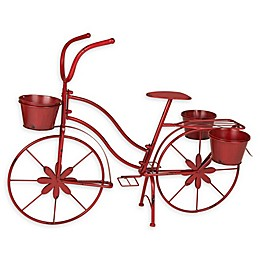 Glitzhome Bicycle Planter in Red