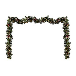 Pre-Lit Battery Operated Glittery Berry Pine Garland (Set of 2)