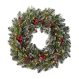 Winter Wonderland 24-Inch Pre-Lit Glittery Berry Wreath with Warm White LED Lights