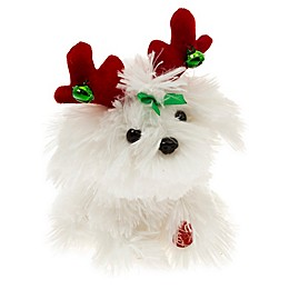 8-Inch Animated Fluffy Christmas Dog in White