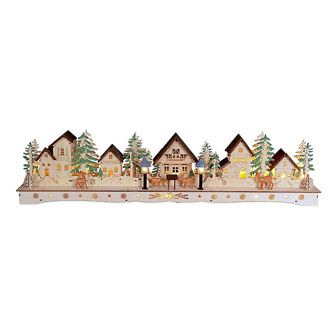 Alternate image 1 for 31-Inch Pre-Lit Wooden Christmas Village in Natural