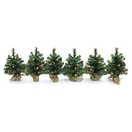 18-Inch Pre-Lit LED Tabletop Tree with Burlap Base (Set of 6)