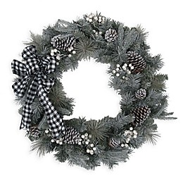 30-Inch Flocked Berry Pine Wreath