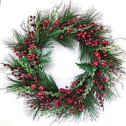 30-Inch Holly Berry Pine Wreath