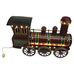 19-Inch Pre-Lit Metal Christmas Train Decoration