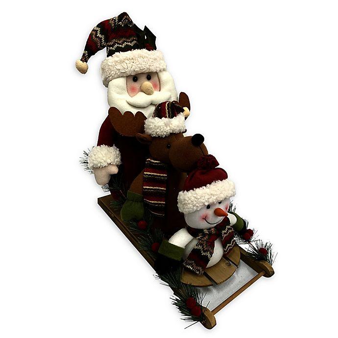 Alternate image 1 for 18-Inch Santa, Reindeer, Snowman Sleigh Decoration