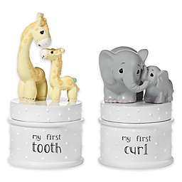 2-Piece Elephant and Giraffe My First Tooth and Curl Trinket Boxes