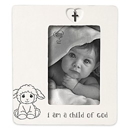 Baptism 4-Inch x 6-Inch Ceramic Picture Frame with Cross Charm in White