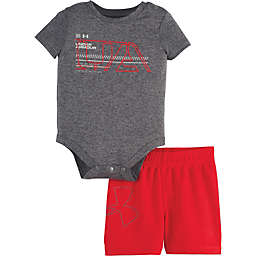 Under Armour® 2-Piece Bodysuit and Short Set in Grey/Red
