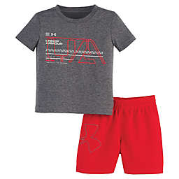 Under Armour® 2-Piece Shirt and Short Set in Grey/Red