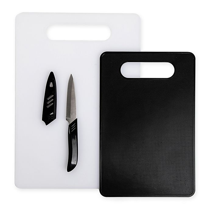 Core Kitchen 3 Piece Polypropylene Cutting Board And Knife