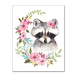 Designs Direct Watercolor Raccoon 11-Inch x 14-Inch Canvas Wall Art