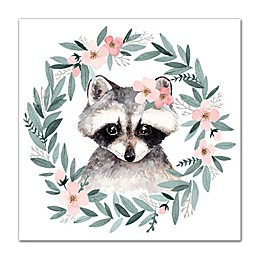Designs Direct Watercolor Wreath Raccoon 12-Inch Square Canvas Wall Art