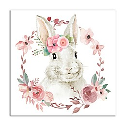 Designs Direct Floral Bunny 16-Inch Square Canvas Wall Art