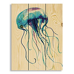Designs Direct Watercolor Jellyfish 10.68-Inch x 14-Inch Wood Wall Art
