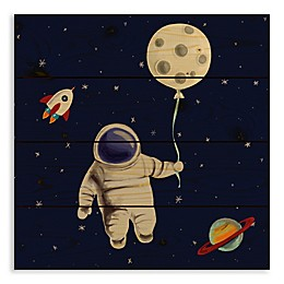 Designs Direct Moon Balloon 14.25-Inch Square Wood Wall Art
