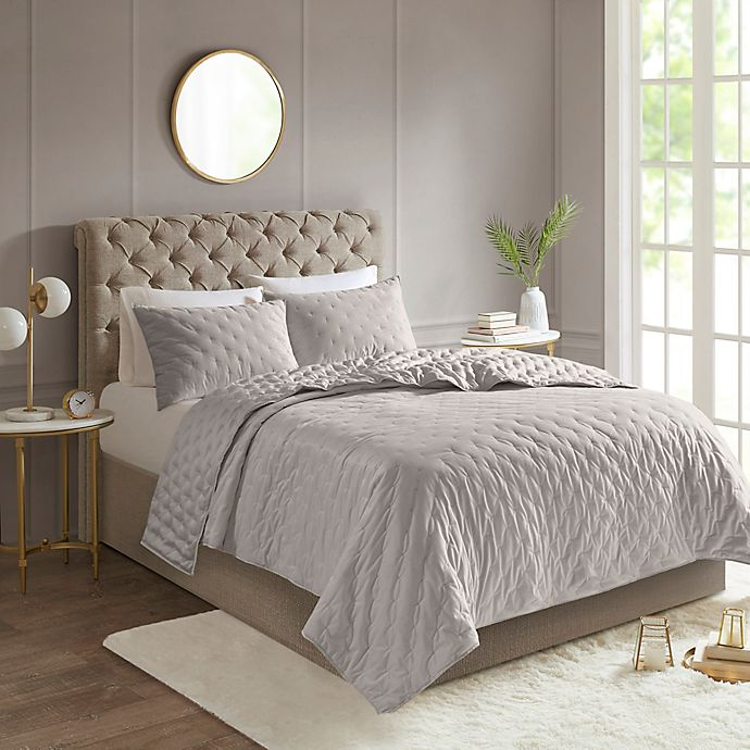 Alternate image 1 for Madison Park Leah Reversible Full/Queen Coverlet Set in Grey