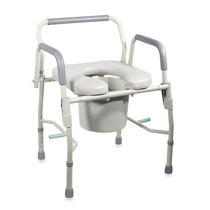 Remarkable Drive Medical Deluxe Steel Drop Arm Commode With Padded Seat Ibusinesslaw Wood Chair Design Ideas Ibusinesslaworg