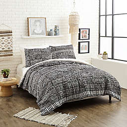 Justina Blakeney Piazza Stripes Twin XL Comforter Set in Black
