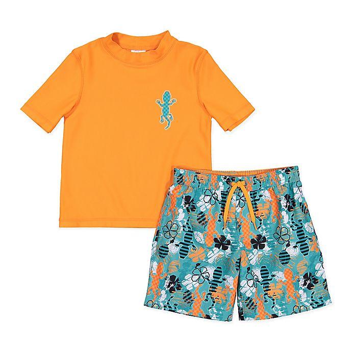 Alternate image 1 for Kiko & Max 2-Piece Gecko Rashguard Set in Orange
