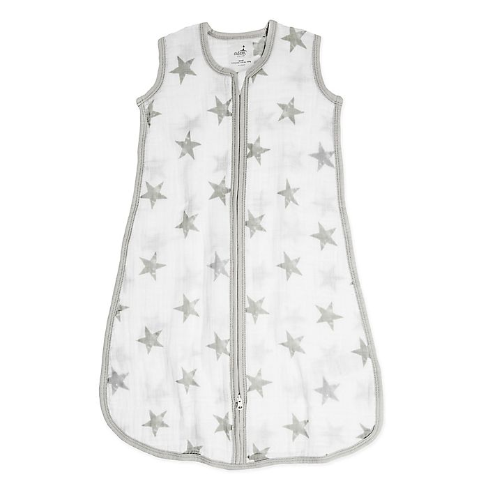 Alternate image 1 for aden® by aden + anais® Star Muslin Wearable Blanket in Grey