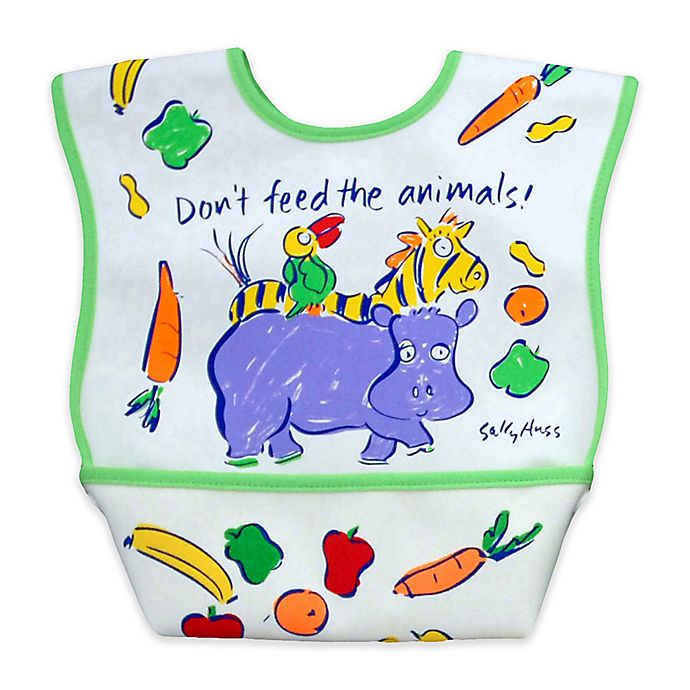 Alternate image 1 for DexBaby Large Animals Waterproof Big Mouth Dura-Bib in White